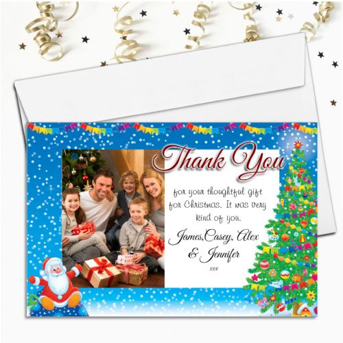 10 Personalised Christmas Thank you Cards Santa PHOTO Frame N23